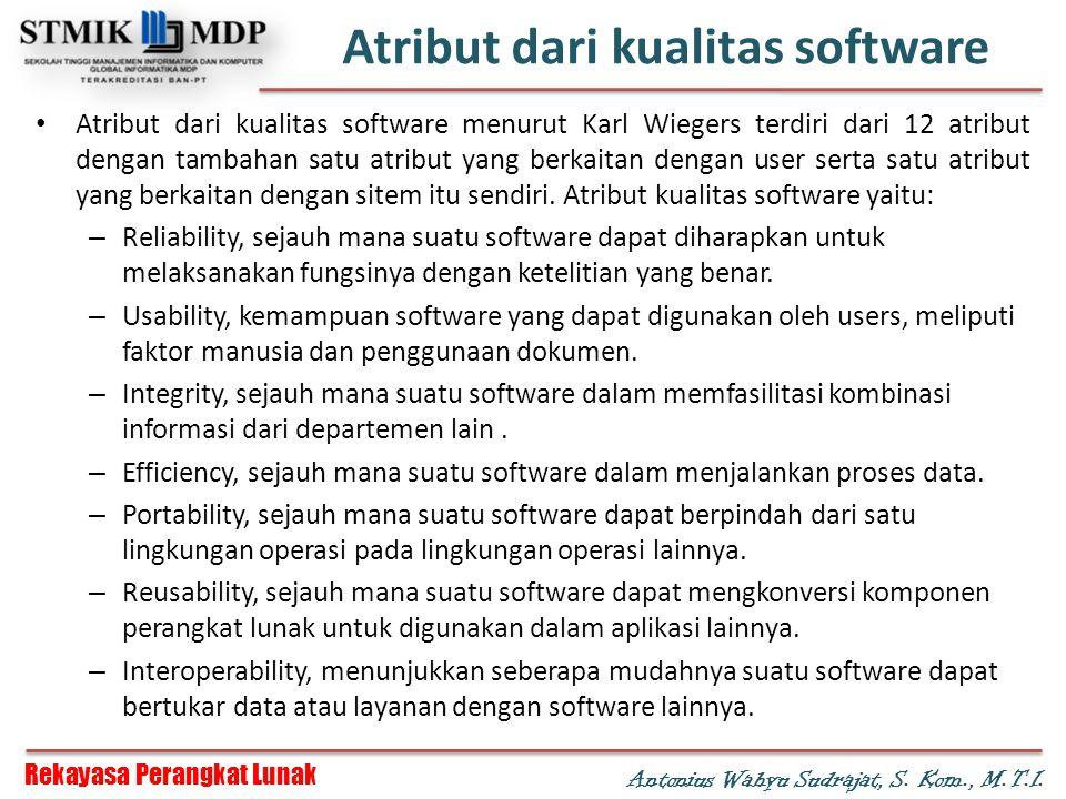 Atribut dari kualitas software