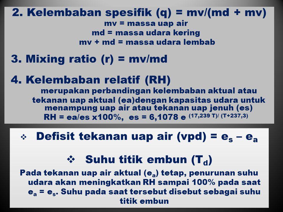 2. Kelembaban spesifik (q) = mv/(md + mv)