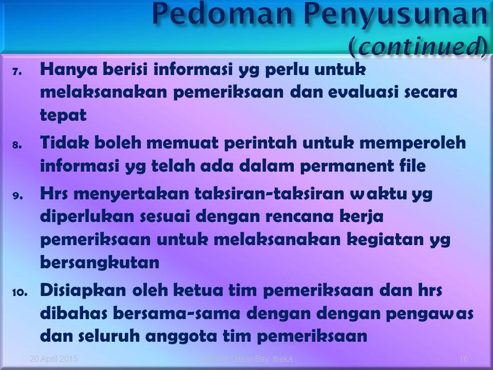 Pedoman Penyusunan (continued)