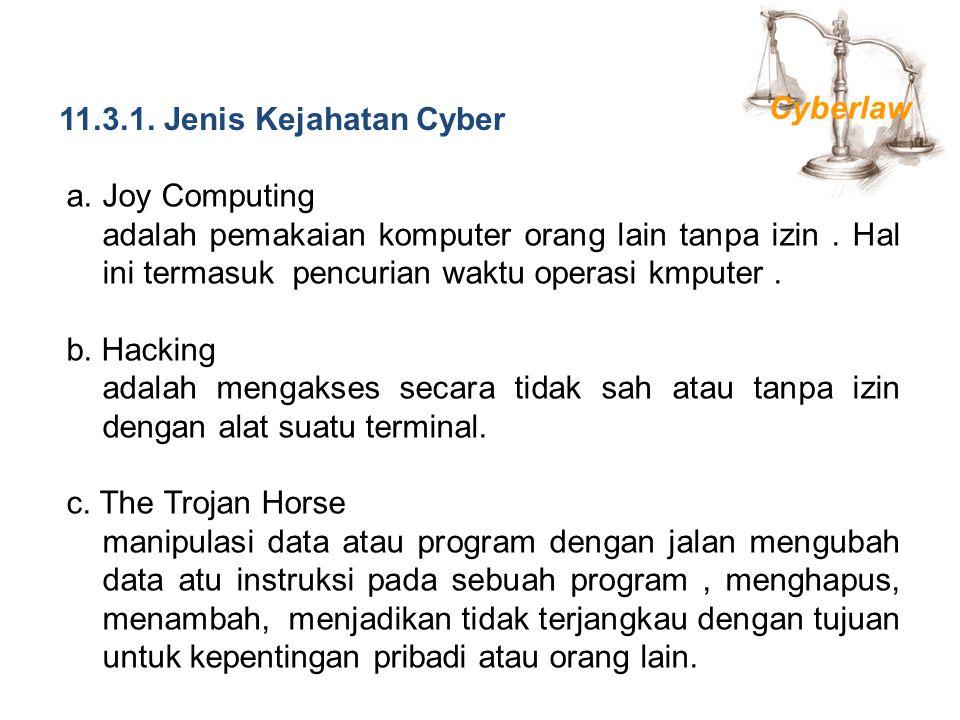 11.3.1. Jenis Kejahatan Cyber Cyberlaw. Joy Computing.