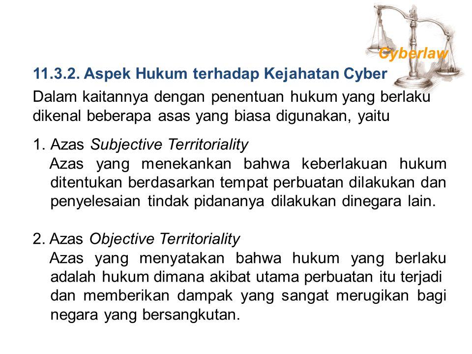 Cyberlaw 11.3.2. Aspek Hukum terhadap Kejahatan Cyber.