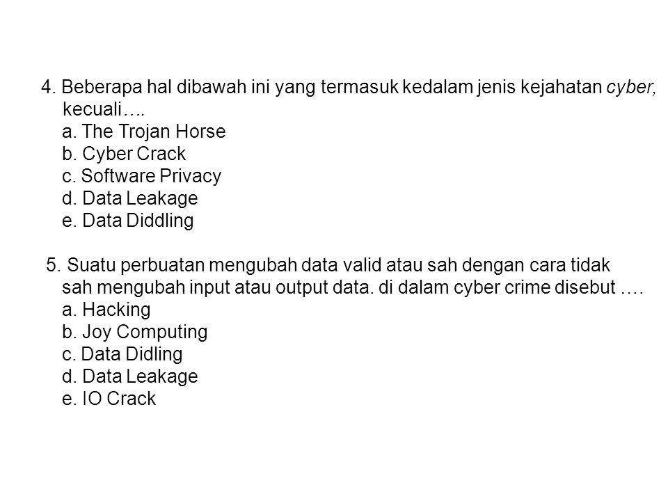 4. Beberapa hal dibawah ini yang termasuk kedalam jenis kejahatan cyber, kecuali….