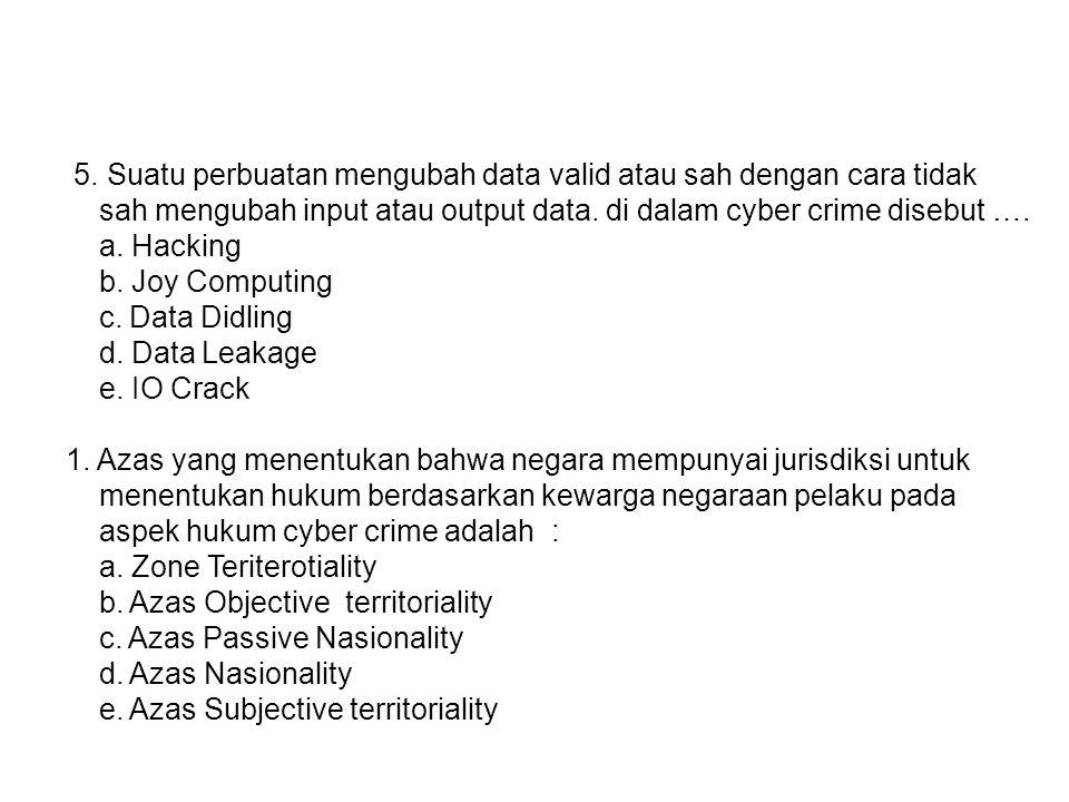 5. Suatu perbuatan mengubah data valid atau sah dengan cara tidak
