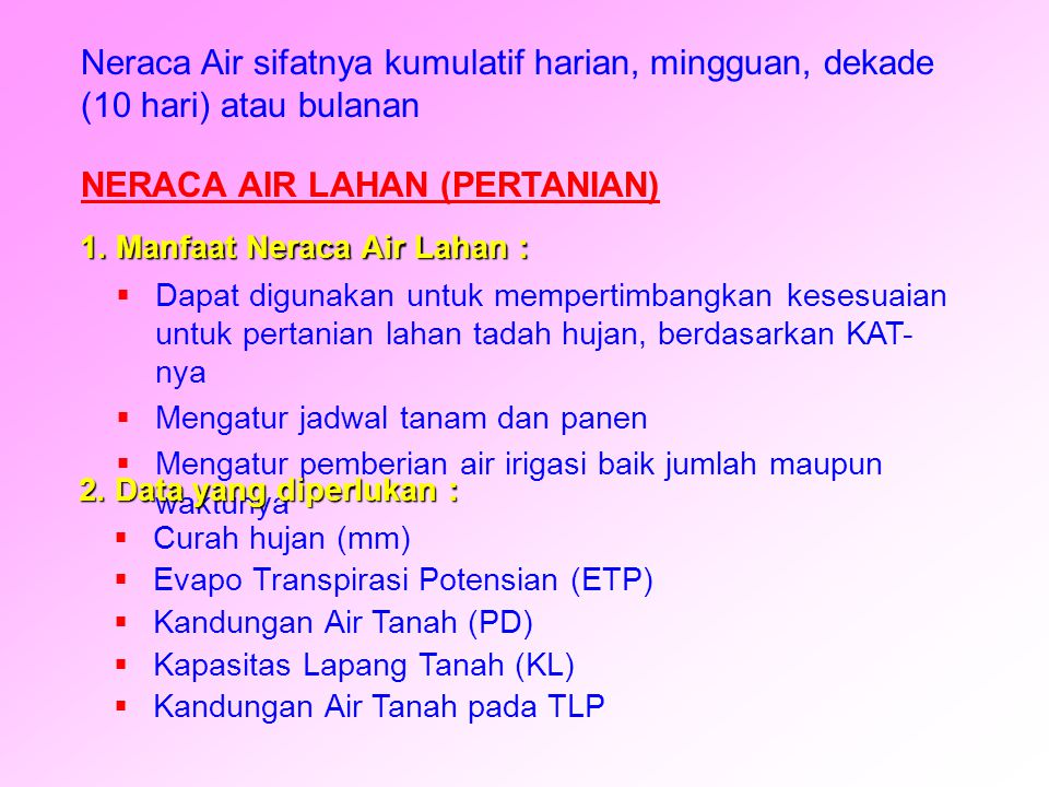 NERACA AIR LAHAN (PERTANIAN)