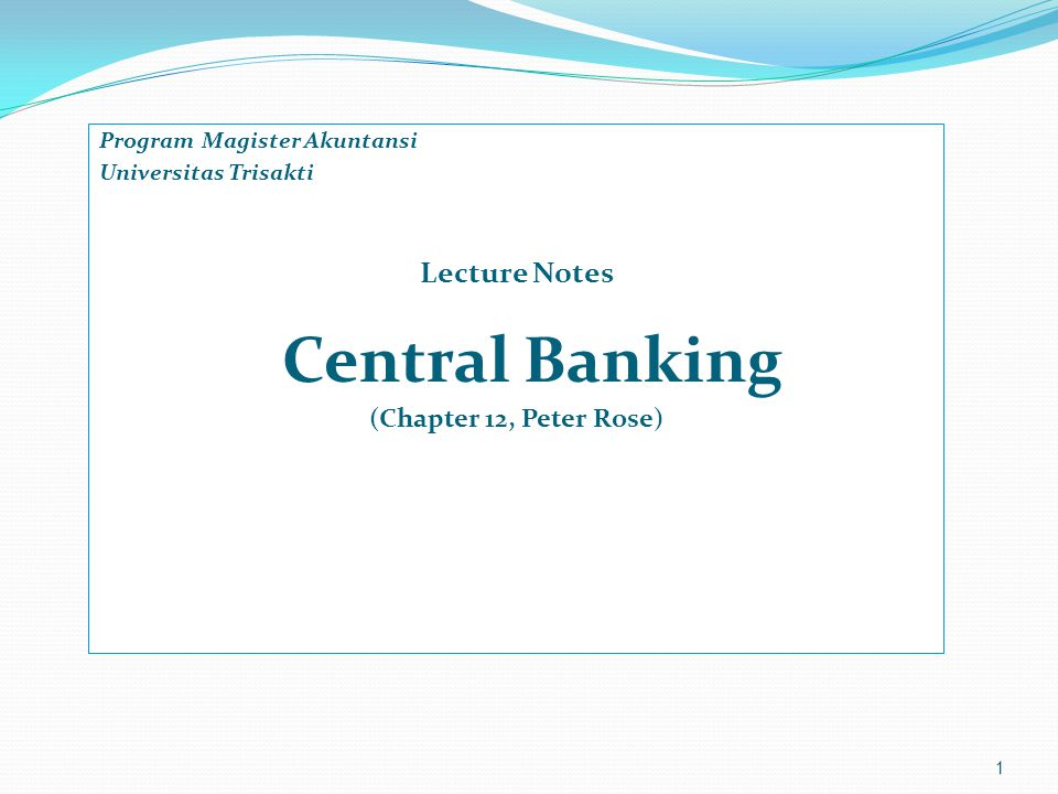 Lecture Notes Central Banking