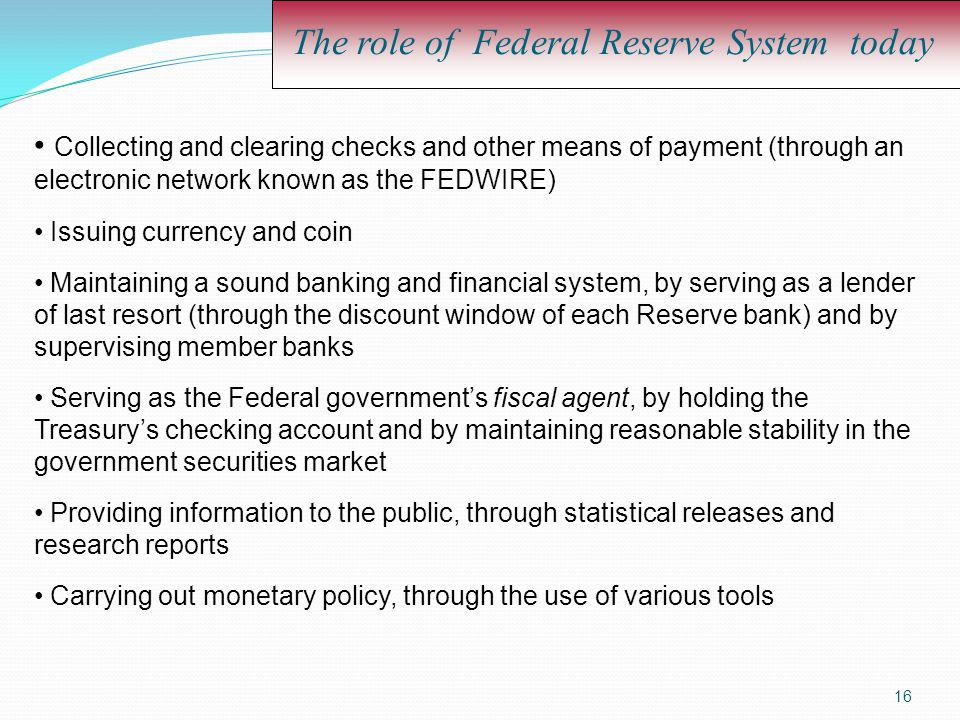 The role of Federal Reserve System today