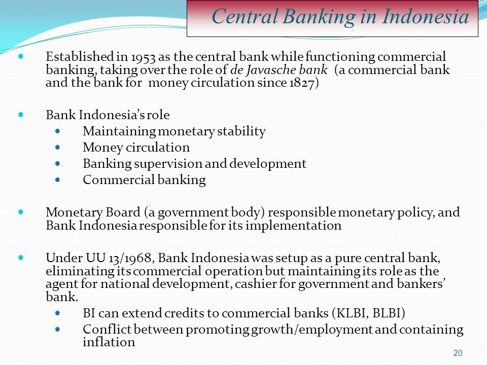 Central Banking in Indonesia