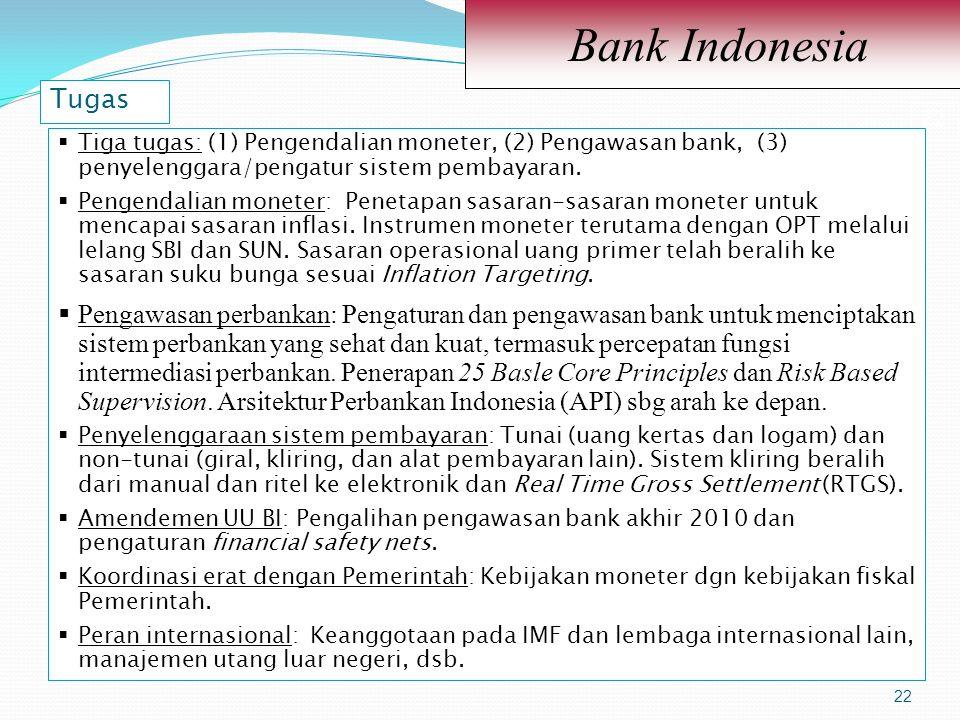 Bank Indonesia Tugas. 22. Tiga tugas: (1) Pengendalian moneter, (2) Pengawasan bank, (3) penyelenggara/pengatur sistem pembayaran.