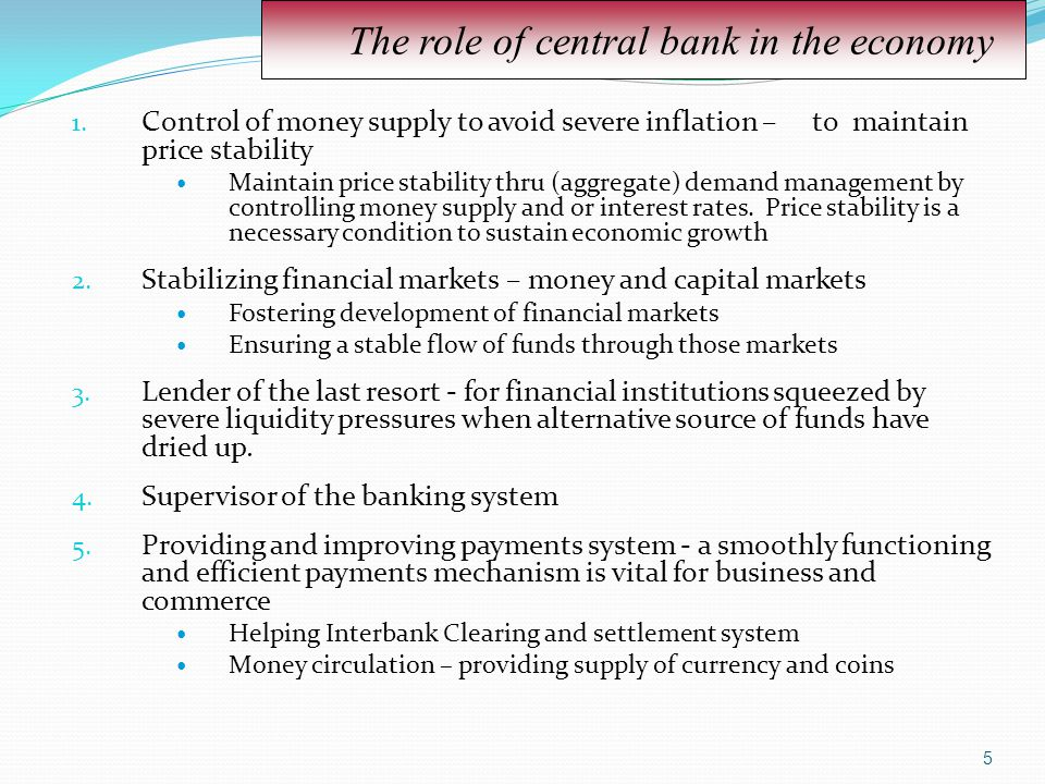 The role of central bank in the economy