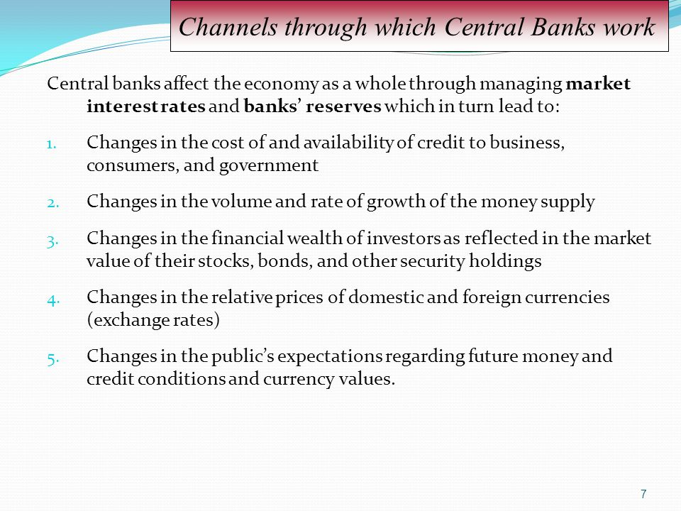 Channels through which Central Banks work