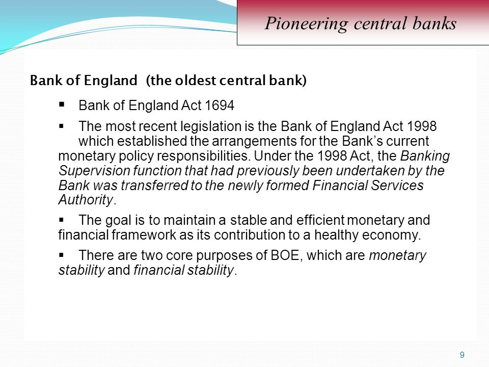 Pioneering central banks