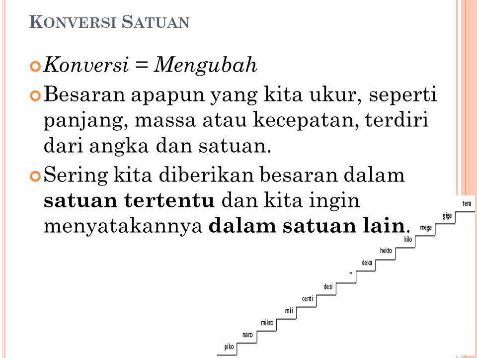 Konversi Satuan Konversi = Mengubah. Besaran apapun yang kita ukur, seperti panjang, massa atau kecepatan, terdiri dari angka dan satuan.