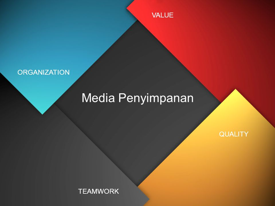 VALUE ORGANIZATION Media Penyimpanan QUALITY TEAMWORK