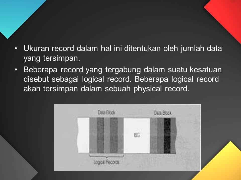 Ukuran record dalam hal ini ditentukan oleh jumlah data yang tersimpan.