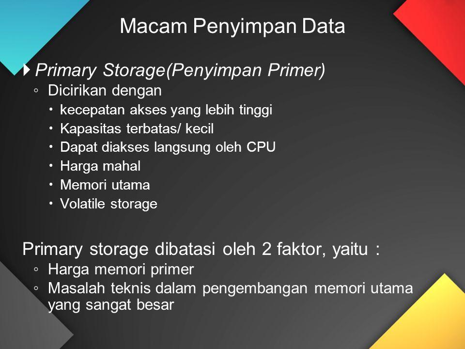 Macam Penyimpan Data Primary Storage(Penyimpan Primer)