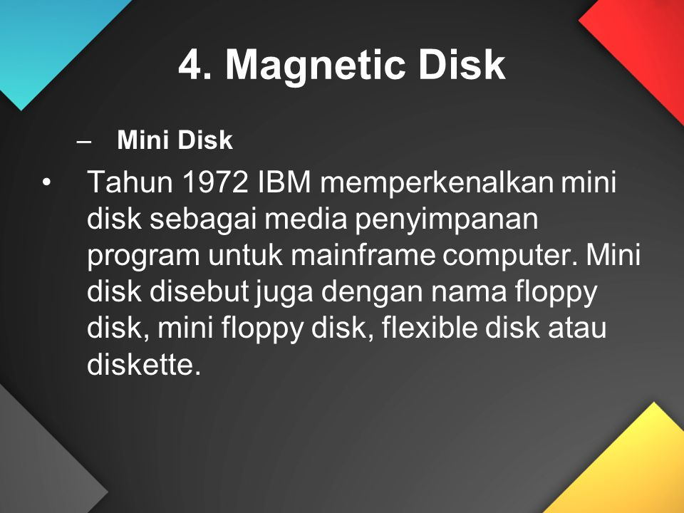 4. Magnetic Disk Mini Disk.
