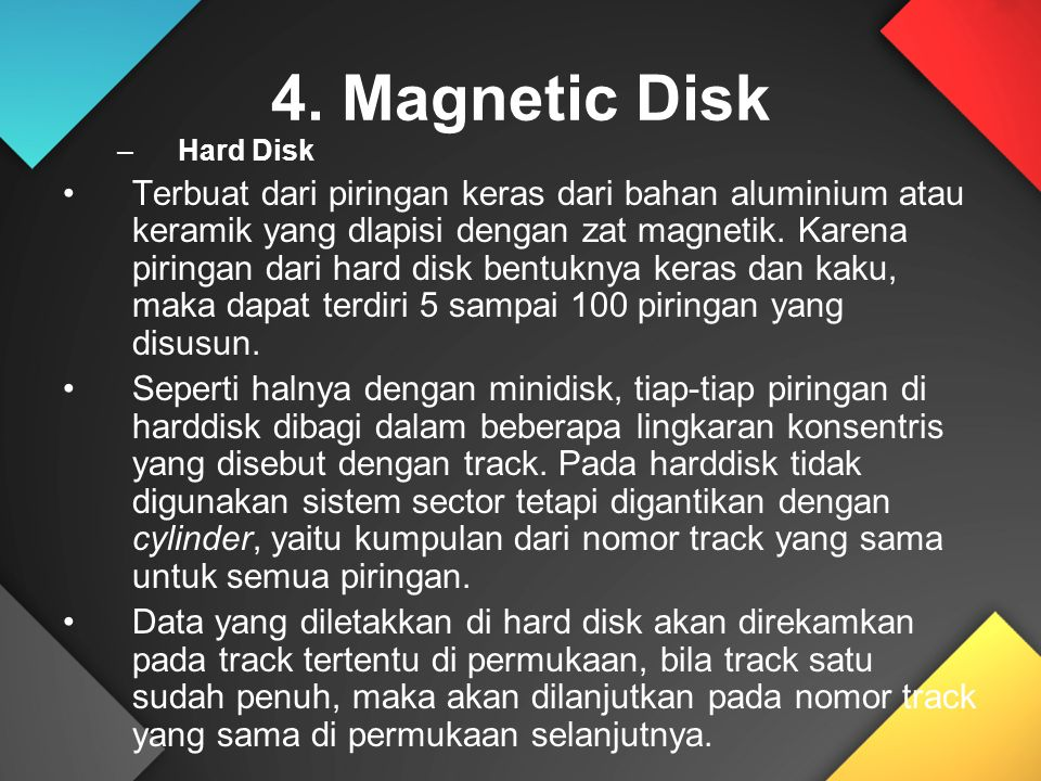 4. Magnetic Disk Hard Disk.