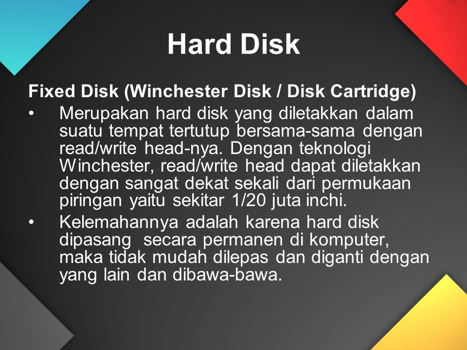 Hard Disk Fixed Disk (Winchester Disk / Disk Cartridge)