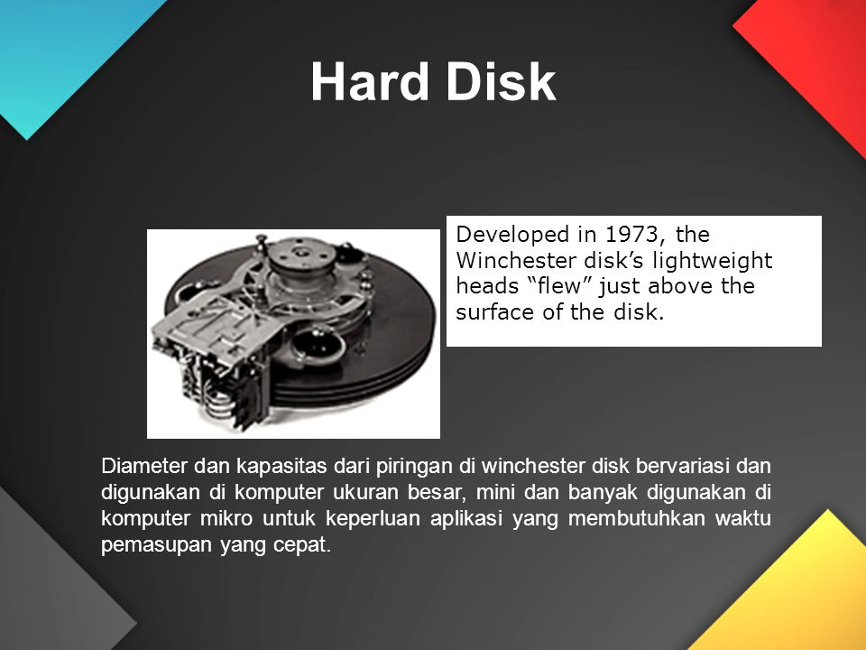 Hard Disk Developed in 1973, the Winchester disk's lightweight heads flew just above the surface of the disk.
