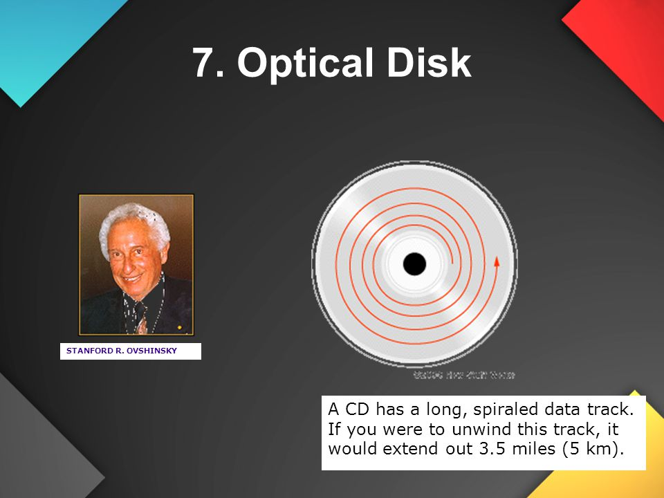 7. Optical Disk STANFORD R. OVSHINSKY. A CD has a long, spiraled data track.