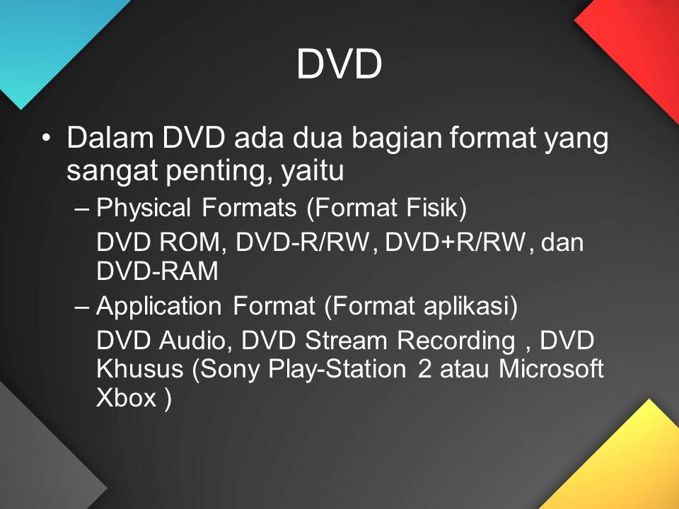DVD Dalam DVD ada dua bagian format yang sangat penting, yaitu