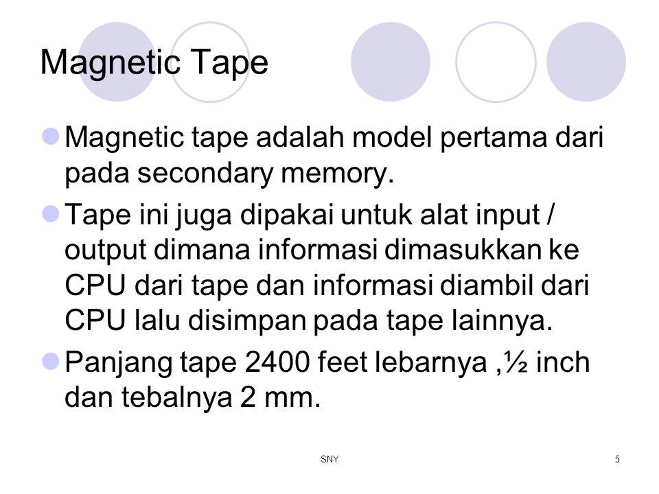 Magnetic Tape Magnetic tape adalah model pertama dari pada secondary memory.