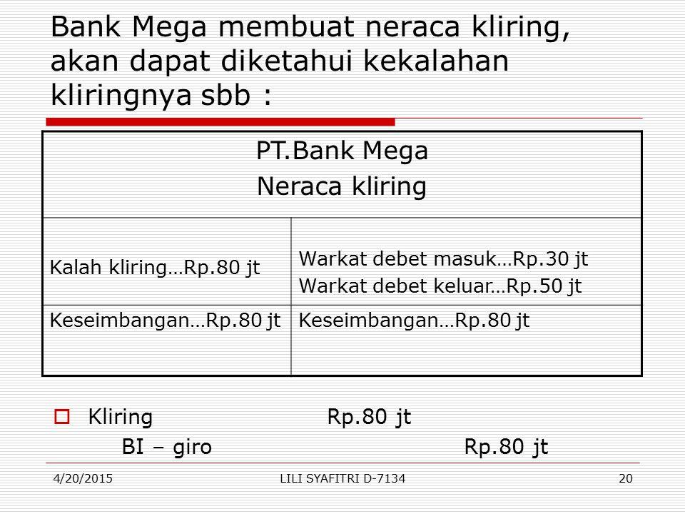 Bank Mega membuat neraca kliring, akan dapat diketahui kekalahan kliringnya sbb :
