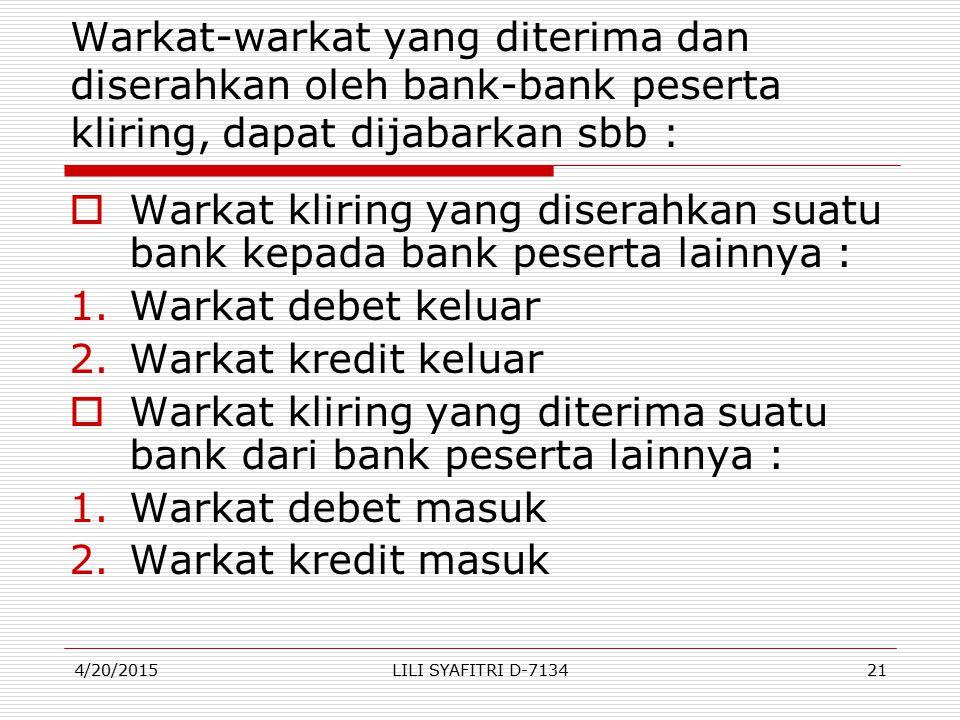 Warkat kliring yang diterima suatu bank dari bank peserta lainnya :