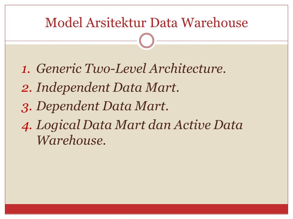 Model Arsitektur Data Warehouse