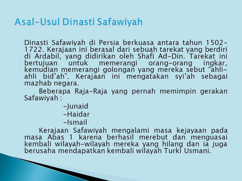 Asal-Usul Dinasti Safawiyah