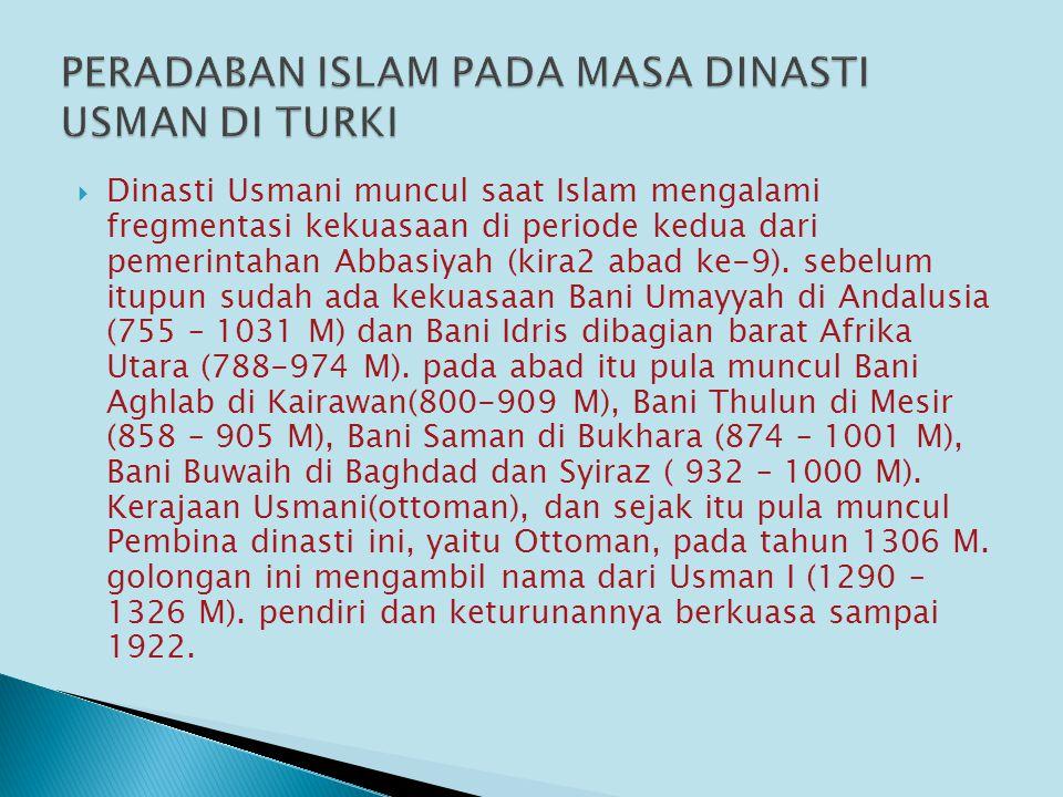 PERADABAN ISLAM PADA MASA DINASTI USMAN DI TURKI