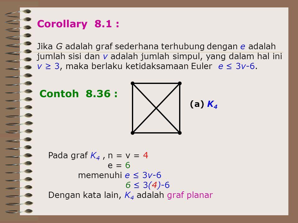 Corollary 8.1 : Jika G adalah graf sederhana terhubung dengan e adalah. jumlah sisi dan v adalah jumlah simpul, yang dalam hal ini.