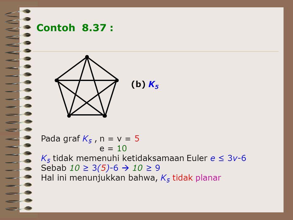 Contoh 8.37 : (b) K5 Pada graf K5 , n = v = 5 e = 10