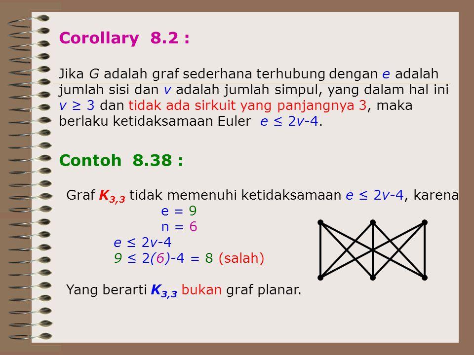 Corollary 8.2 : Jika G adalah graf sederhana terhubung dengan e adalah. jumlah sisi dan v adalah jumlah simpul, yang dalam hal ini.