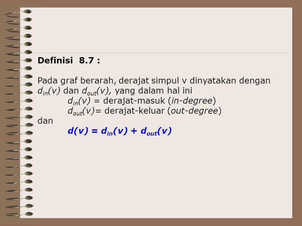 Definisi 8.7 : Pada graf berarah, derajat simpul v dinyatakan dengan. din(v) dan dout(v), yang dalam hal ini.