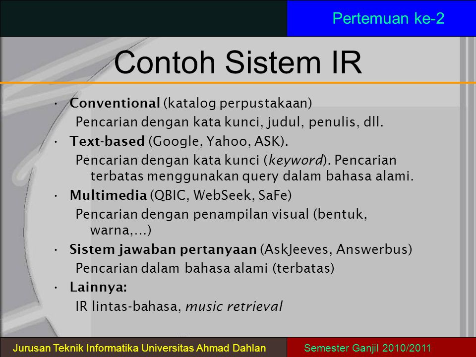 Contoh Sistem IR Pertemuan ke-2 Conventional (katalog perpustakaan)