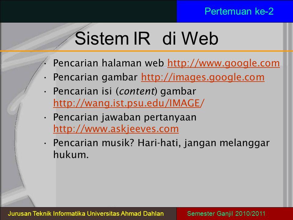 Sistem IR di Web Pertemuan ke-2