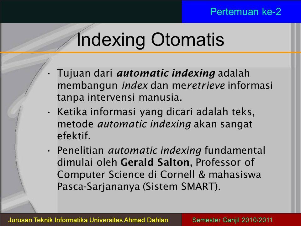 Indexing Otomatis Pertemuan ke-2