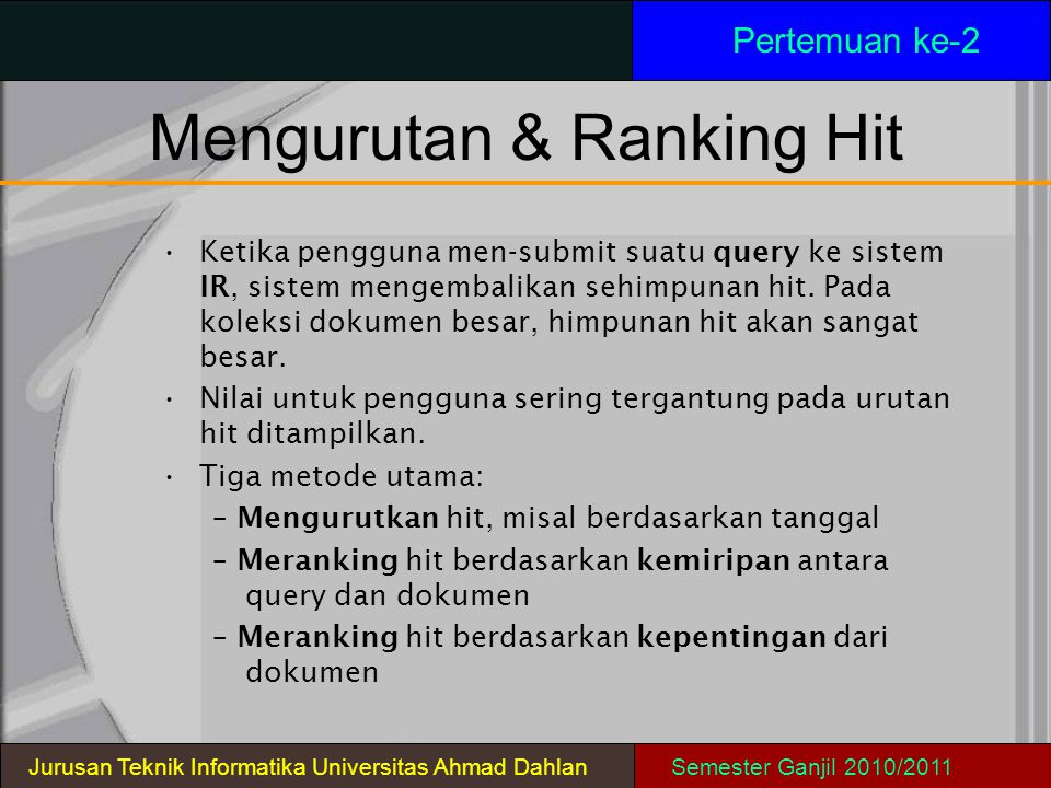 Mengurutan & Ranking Hit