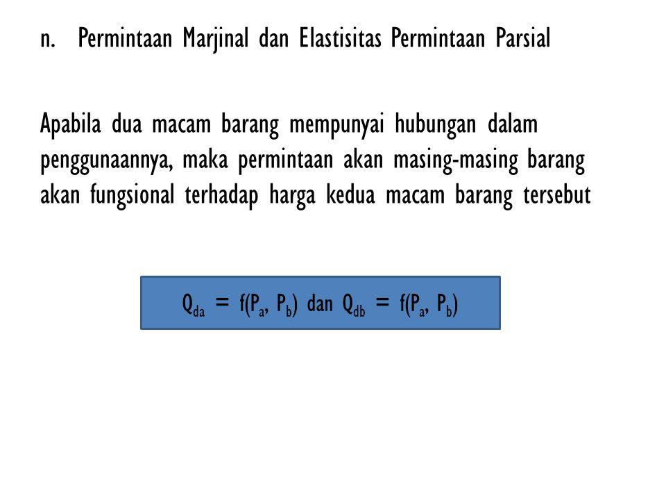 Qda = f(Pa, Pb) dan Qdb = f(Pa, Pb)