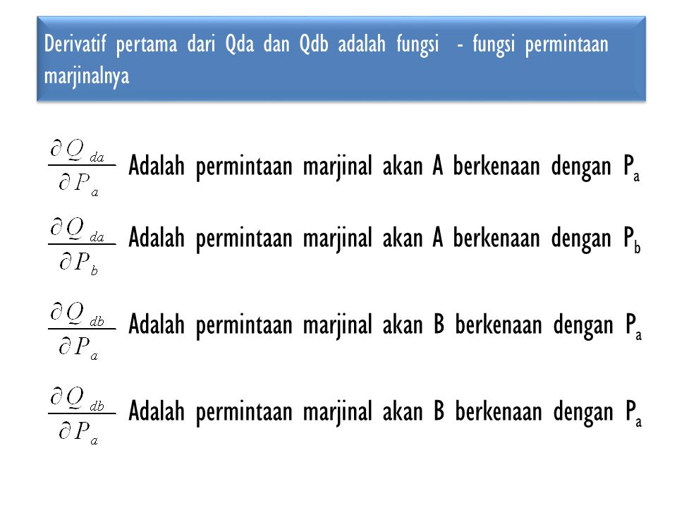 Derivatif pertama dari Qda dan Qdb adalah fungsi - fungsi permintaan marjinalnya