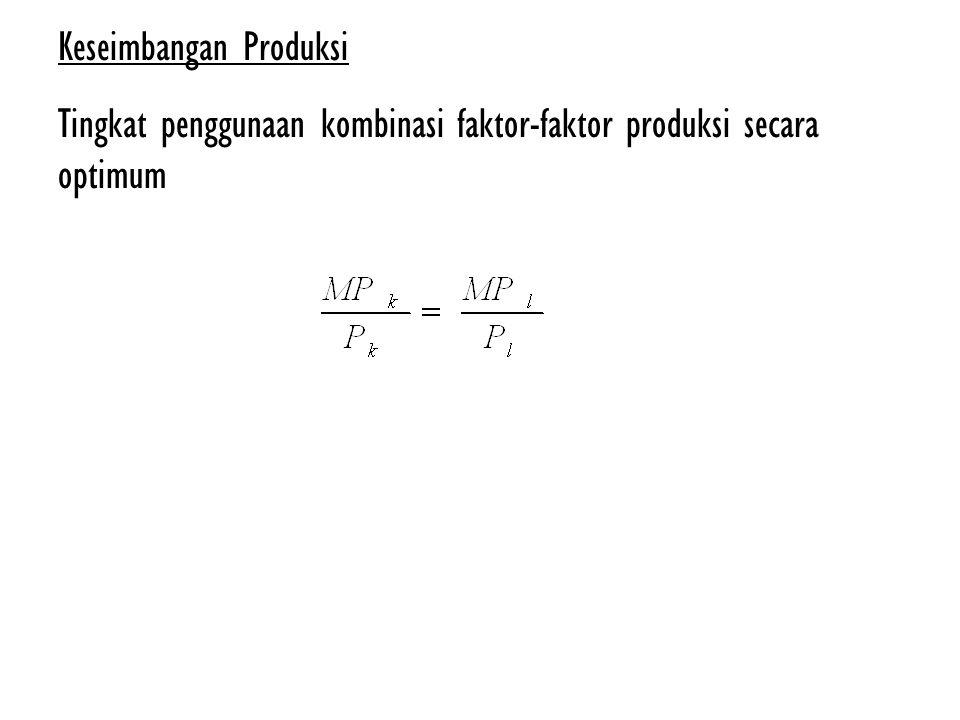 Keseimbangan Produksi Tingkat penggunaan kombinasi faktor-faktor produksi secara optimum