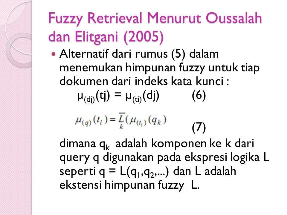 Fuzzy Retrieval Menurut Oussalah dan Elitgani (2005)