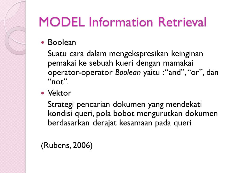MODEL Information Retrieval