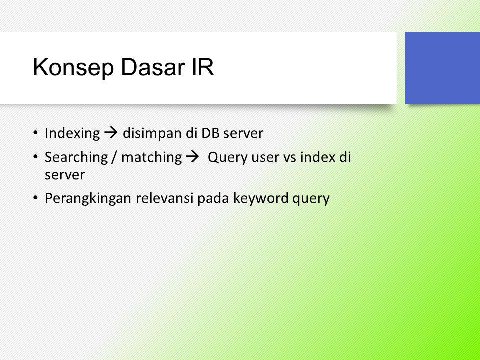 Konsep Dasar IR Indexing  disimpan di DB server