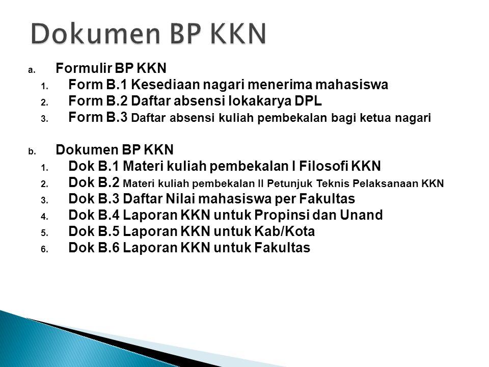 Dokumen BP KKN Formulir BP KKN