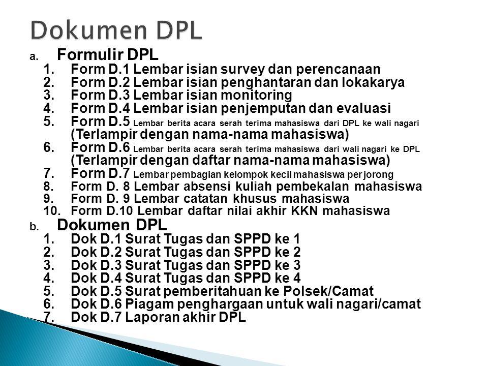 Dokumen DPL Formulir DPL Dokumen DPL
