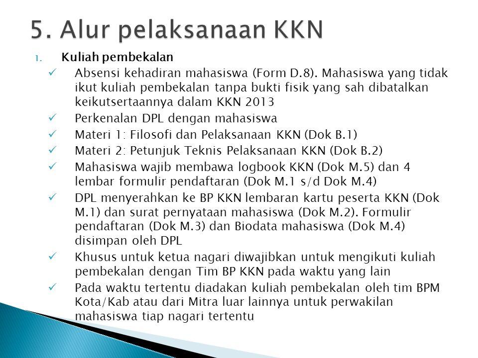 5. Alur pelaksanaan KKN Kuliah pembekalan