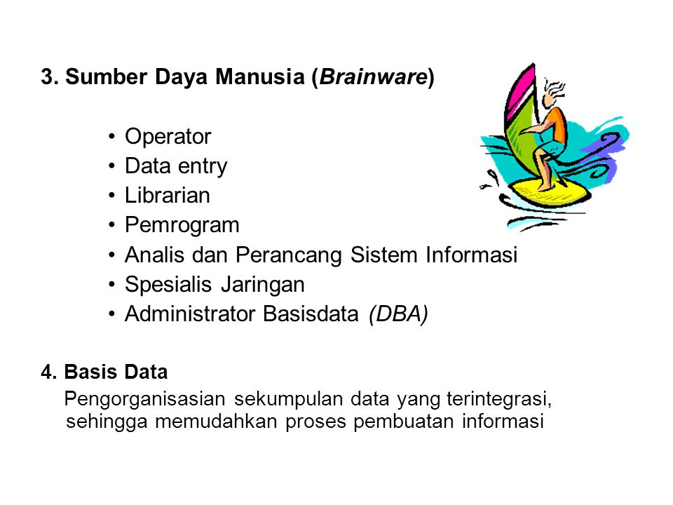 3. Sumber Daya Manusia (Brainware) Operator Data entry Librarian