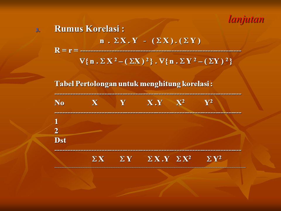 lanjutan Rumus Korelasi : n .  X . Y - (  X ) . (  Y )